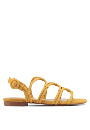 Mango yellow Leather wrap sandals AC471SH37D2562GS_1
