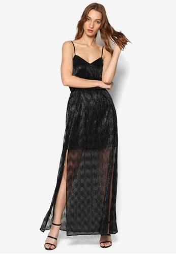 Miss Selfridge black Black Shimmer Maxi Dress MI665AA35SSMMY_1
