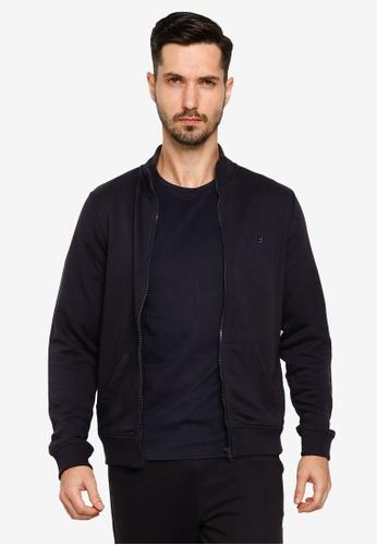 BLEND navy High Collar Zippered Sweat Jacket 1FD5EAA9C2F7C1GS_1