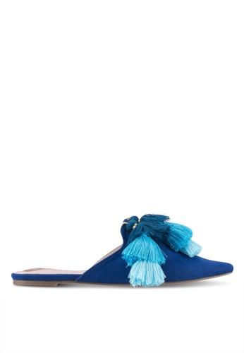 Velvet blue Tassle Slip On Flats 83AE9SH5B2E5B0GS_1
