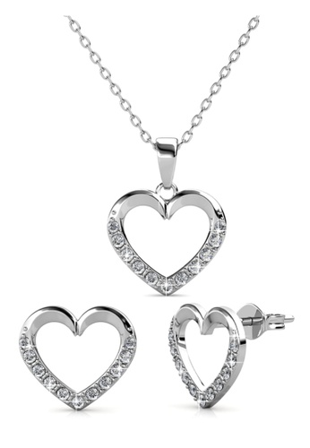 Her Jewellery silver Lovett Set - Made with Premium grade crystals from Austria F5656AC4A73452GS_1