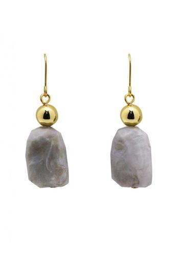 SKEDA grey Luna Grey Stone Drop Earrings DCCDFAC30AC9EEGS_1