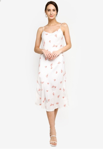 Hopeshow white Spaghetti Strap Chiffon Floral Midi Dress 8A462AA92F1033GS_1