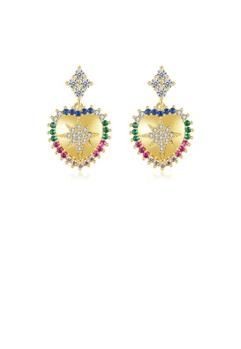 Glamorousky silver Fashion Simple Plated Gold Heart-shaped Colorful Cubic Zirconia Earrings B5B43AC2D2A603GS_1
