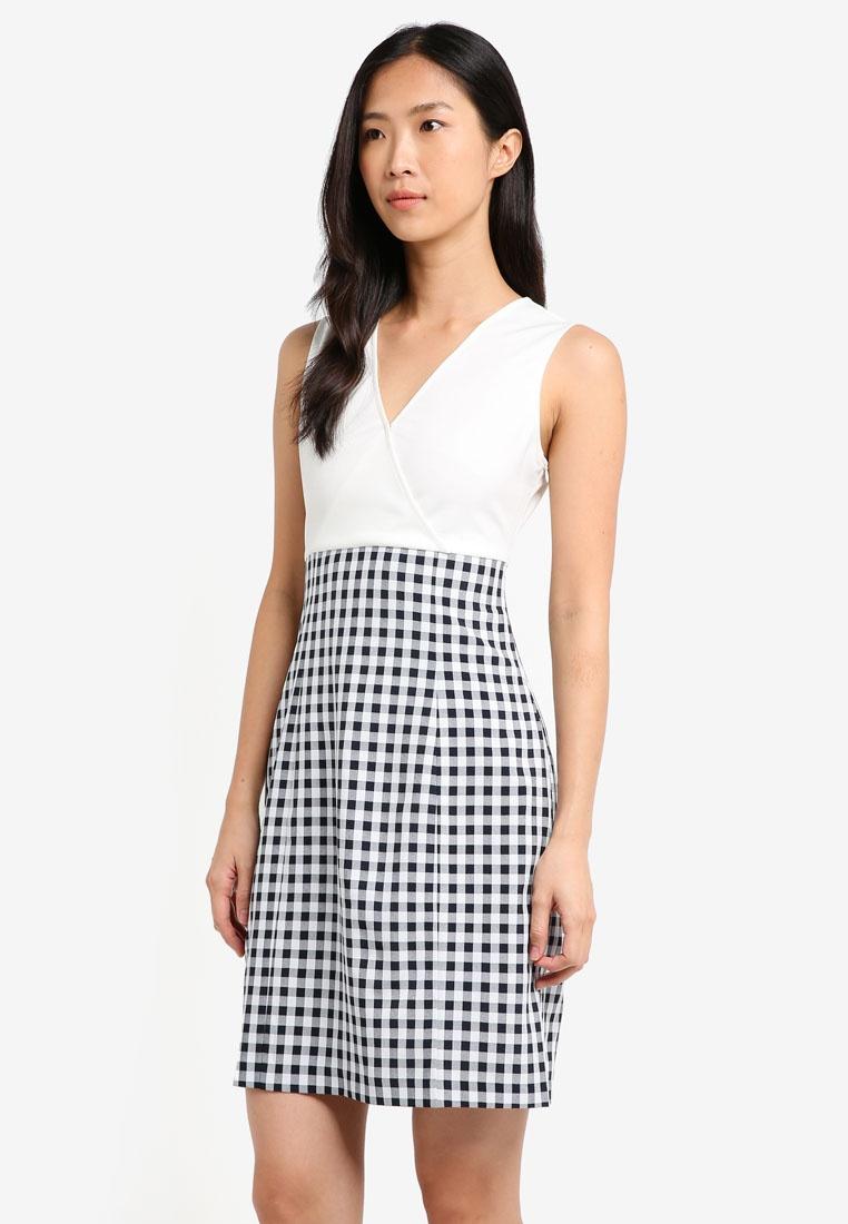 Fabric Neck Navy ZALORA Dress V Gingham Mix E8dwq47B