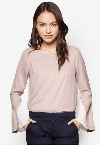 Penelopzalora時尚購物網的koumi koumie 褶飾拼接長袖上衣, 服飾, 上衣