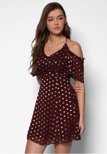繞脖細肩zalora鞋子評價帶點點短袖迷你洋裝, 服飾, 洋裝