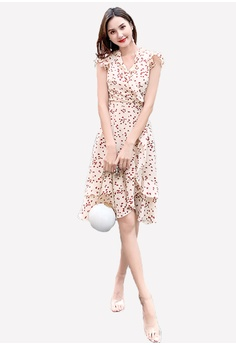fb68ad0f8 Halo beige Sweet Heart Printed Chiffon Dress 1C959AA4E70A4BGS_1