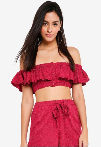 TOPSHOP red Spot Frilly Bardot Top F2E9FAA219063EGS_1