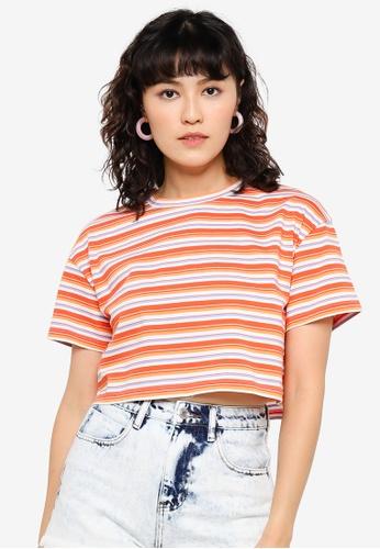 Urban Revivo orange Drop-Shoulder Sleeve Cotton T-Shirt C0FDDAA38D524EGS_1