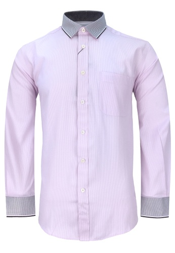 Pacolino white and red and pink Casual-Smart Long Sleeves Shirt PA995AA51CPGMY_1