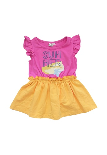 Vauva pink and yellow Vauva Kooala Girls Summer One-Piece Dress - Pink & Yellow 8D8D0KABA003BCGS_1