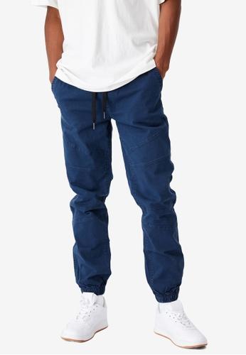 Cotton On 海軍藍色 Drake 縮口褲 6EA39AA8ED1684GS_1