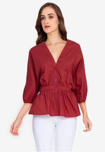 ZALORA WORK red Dolman Sleeves Peplum Top 07462AACBEA45FGS_1