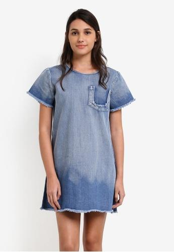 Something Borrowed blue Destroyed Pocket Denim A-line Dress 09480ZZEEF7120GS_1