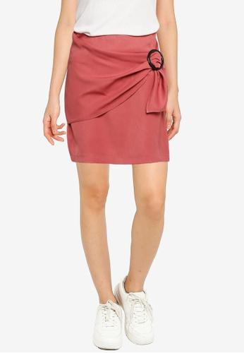 ZALORA BASICS pink Buckle Detail Skirt 49D9DAA61B9745GS_1