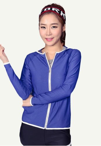 B-Code blue ZYG5041-Lady Quick Drying Running Fitness Yoga Sports Jacket, Shorts and Leggings Three Pieces Set-Blue 9B862AAA6E54ADGS_1