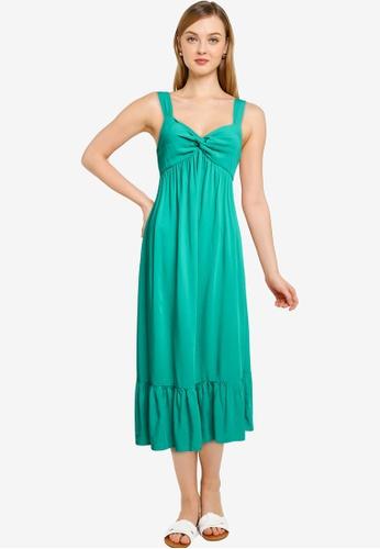 Springfield green Knot Neckline Midi Dress 721CBAA2231CEEGS_1