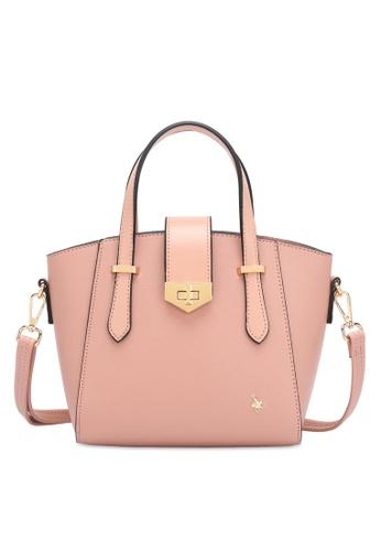 Swiss Polo 粉紅色 Twist Lock Top Handles Sling Bag 6CBE1ACEBE79AFGS_1