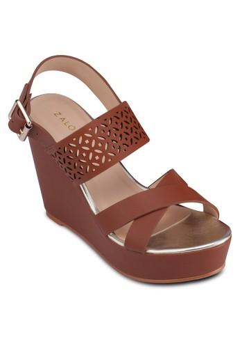 交叉zalora 順豐帶雕花繞踝楔形鞋, 女鞋, 楔形涼鞋