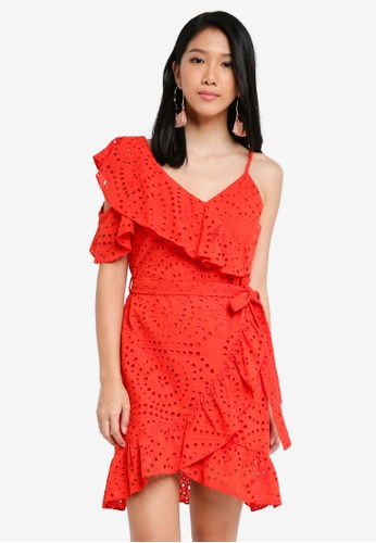 River Island orange Orange Broderie Cold Shoulder Dress FD661AA0CE8ECFGS_1