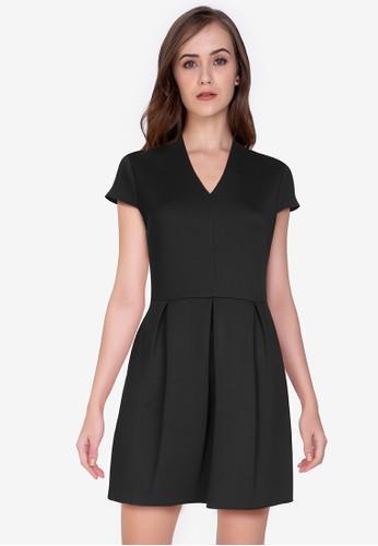 ZALORA WORK black V Neck Mini Dress 95344AAF9B239BGS_1