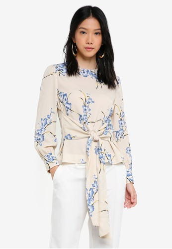 ZALORA multi and beige Long Sleeves Blouse with Waist Tie 97AA0AA4512AF0GS_1