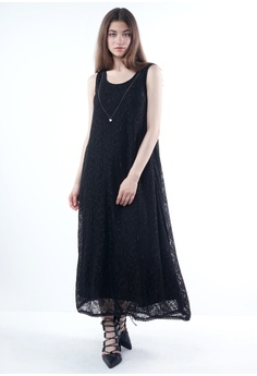 103d384f01d NE Double S black Lace Fabric Round Neckline Sleeveless Maxi Dress With Long  Necklace DE716AA8C7D81EGS 1