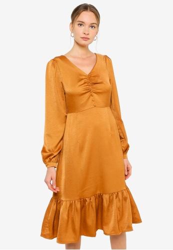 URBAN REVIVO orange V Neck Midi Dress CE271AA7850204GS_1