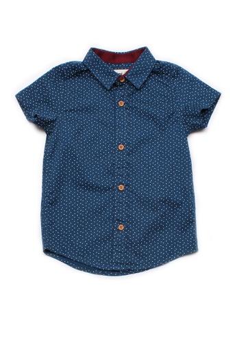 Mini Moley navy Sprinkle Print Boy's Short Sleeve Shirt B7349KACDCF565GS_1