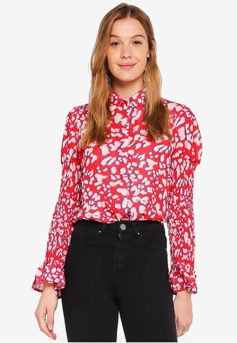 LOST INK red Leopard Printed Shirt 216EDAA8F3BB99GS_1