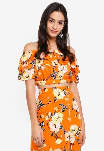 Miss Selfridge orange Petite Orange Floral Printed Bardot Top 806CCAA805A876GS_1