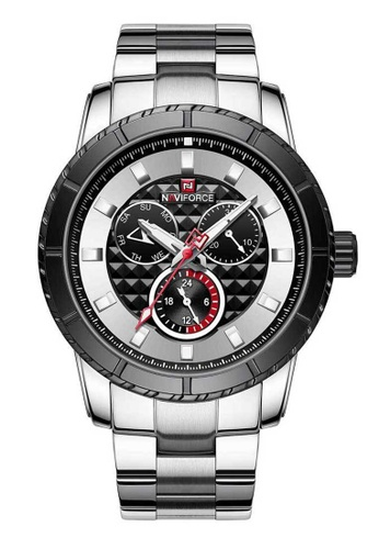 Naviforce silver Naviforce Black and Silver Stainless Steel Watch 02458AC6E22C81GS_1