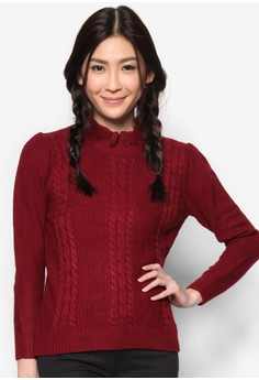 Cable Knit Top With High Ruffle Neck