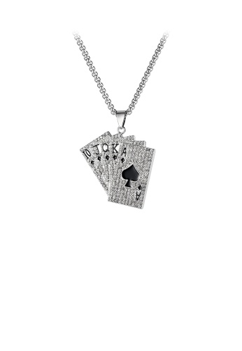 Glamorousky white Fashion Creative Playing Card Pendant with Cubic Zirconia and 316L Stainless Steel Necklace 6DDA5AC949367BGS_1