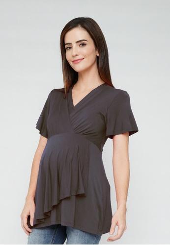 9months Maternity grey Dark Grey Nursing Wrap Top 37AD0AA6CF345AGS_1