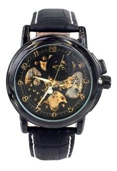 Men's Professional Dress Skeleton Dial Automatic Leather Strap Wrist Watch