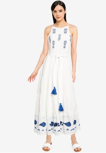 Desigual white Midi Linen Halter Dress 77E54AA05552C3GS_1