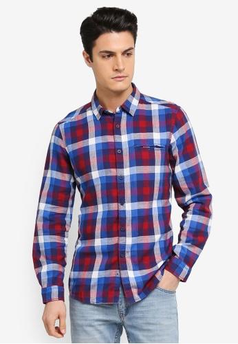 ESPRIT blue Woven Long Sleeve Shirt ES374AA0T185MY_1