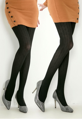e5a0d505334f2 RISING STAR black 100D Black Twist Wave Pattern Pantyhose (Two pairs)  RI809AA93ATEHK_1