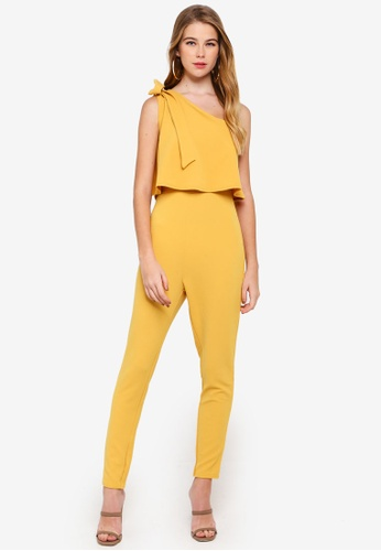 cba5204b06b Buy MISSGUIDED One Shoulder Bow Jumpsuit Online on ZALORA Singapore