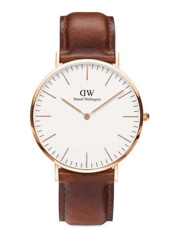 Daniel Wellington brown and gold Classic St Mawes + Roselyn Watch 32896AC4AA27A4GS_1