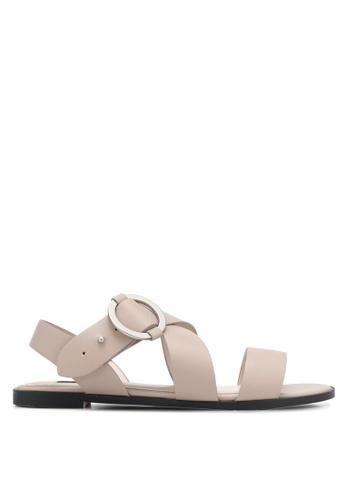 ZALORA grey Cross Strap Sandals AD130SH0D9B99FGS_1