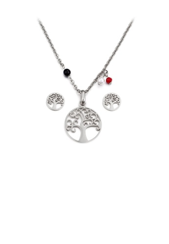 Glamorousky silver Fashion Simple Hollow Tree Geometric Round 316L Stainless Steel Necklace and Stud Earring Set 4922AAC17F95B9GS_1