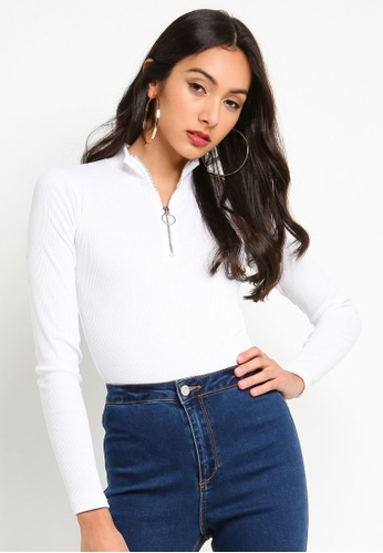 536a25bee7287 MISSGUIDED white Zip Up High Neck Ribbed Bodysuit Top 42615AABFD5565GS 1
