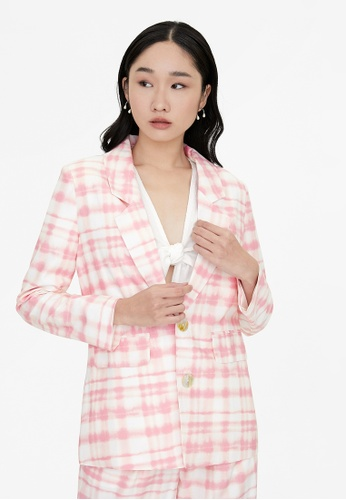 Pomelo pink Washed Out Plaid Blazer - Pink 0EA32AAF685480GS_1