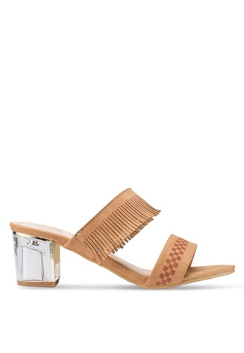 Berrybenka 褐色 格紋流蘇高跟鞋 498A1SHF3C73F0GS_1