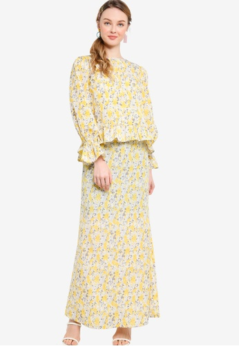 Lubna yellow Front Button Ruffle Sleeve Kurung F12F3AA50DBC22GS_1