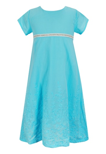 MINI PINK blue Mini Pink Girls Cotton Embroidered Sky Blue Short Sleeves Dress 296A9KA9AD8036GS_1