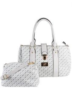 Printed Multiple Zipper Tote Bag with sling bag
